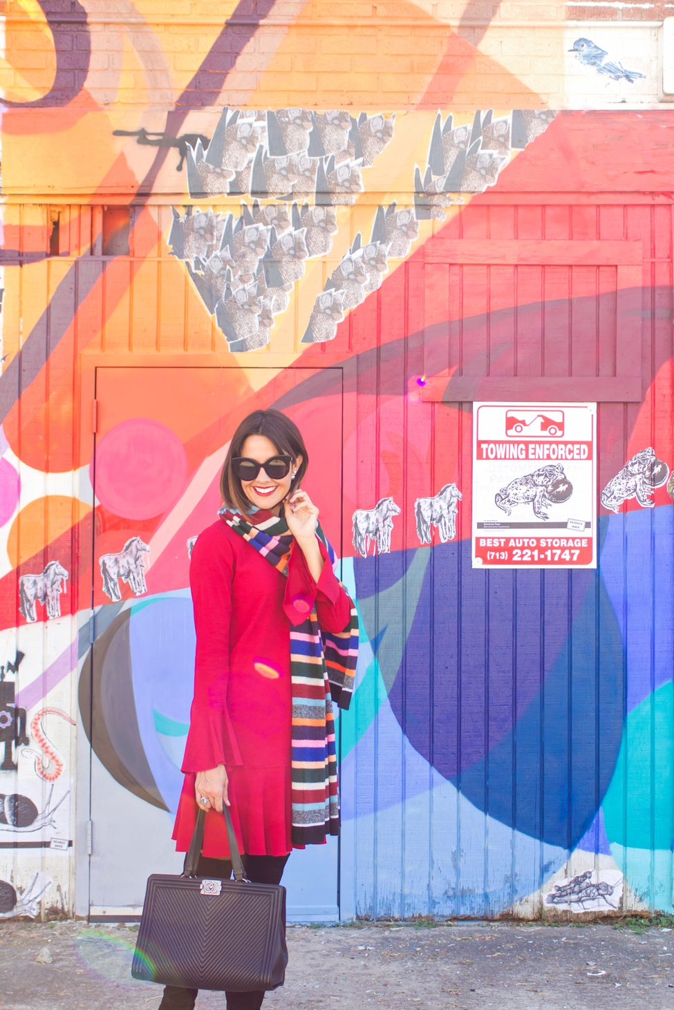 wear-where-well-theory-bell-sleeve-red-dress-colorful-striped-scarf_0001