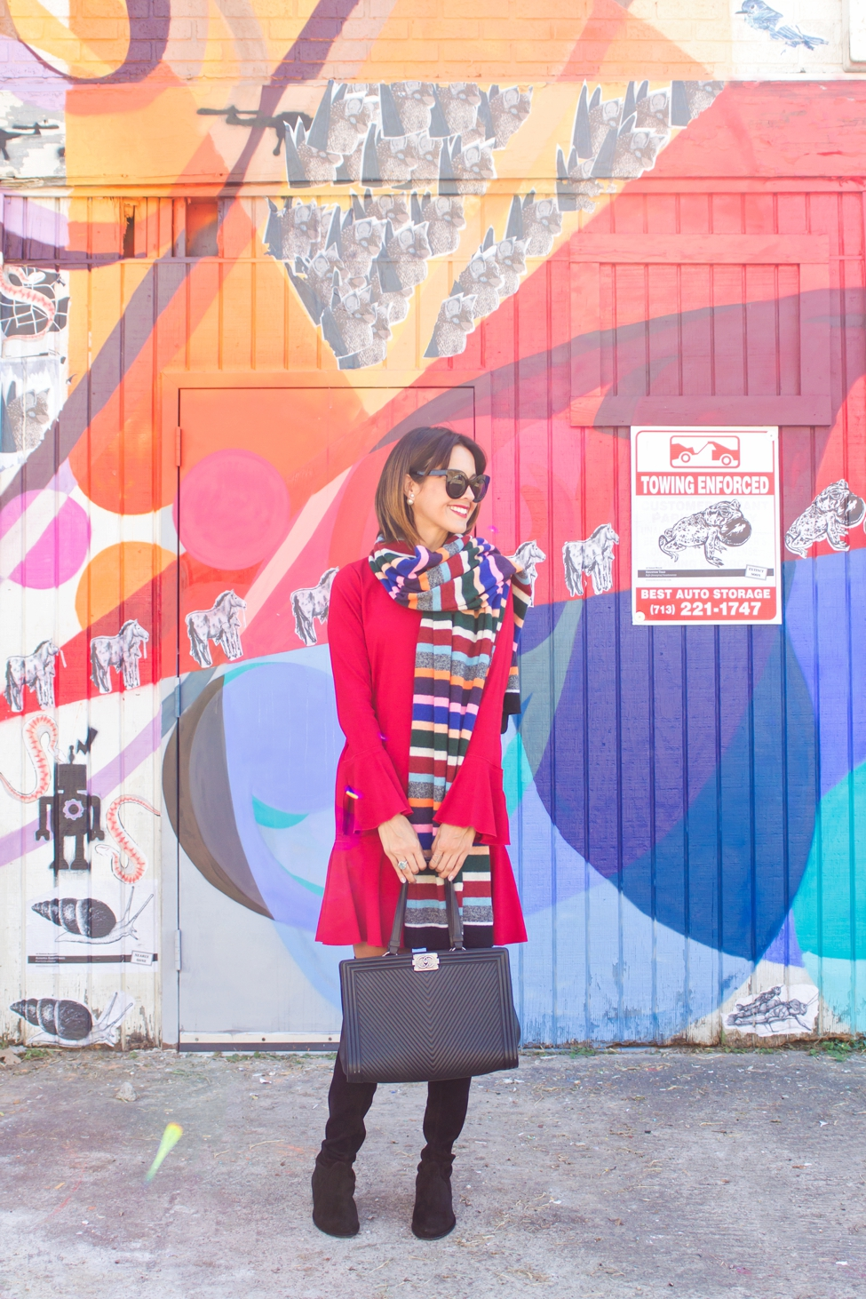 wear-where-well-theory-bell-sleeve-red-dress-colorful-striped-scarf_0004
