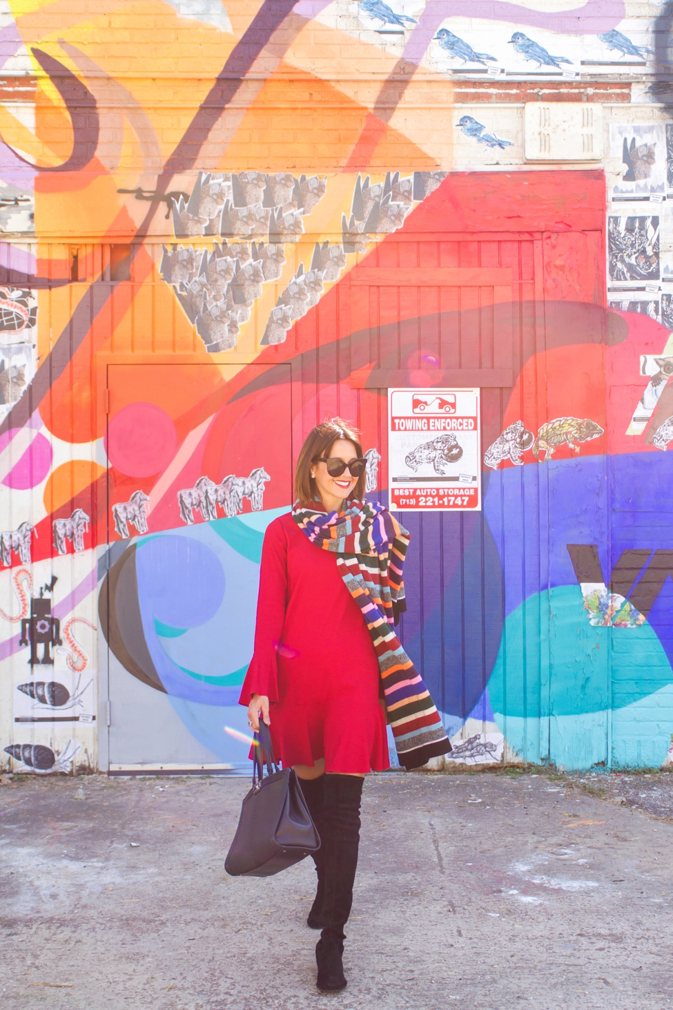 wear-where-well-theory-bell-sleeve-red-dress-colorful-striped-scarf_0007