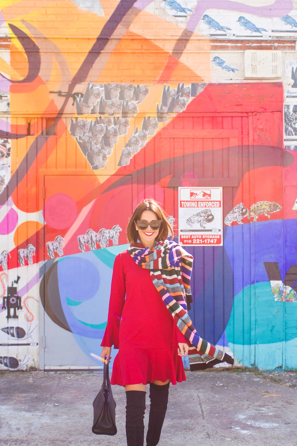 wear-where-well-theory-bell-sleeve-red-dress-colorful-striped-scarf_0008