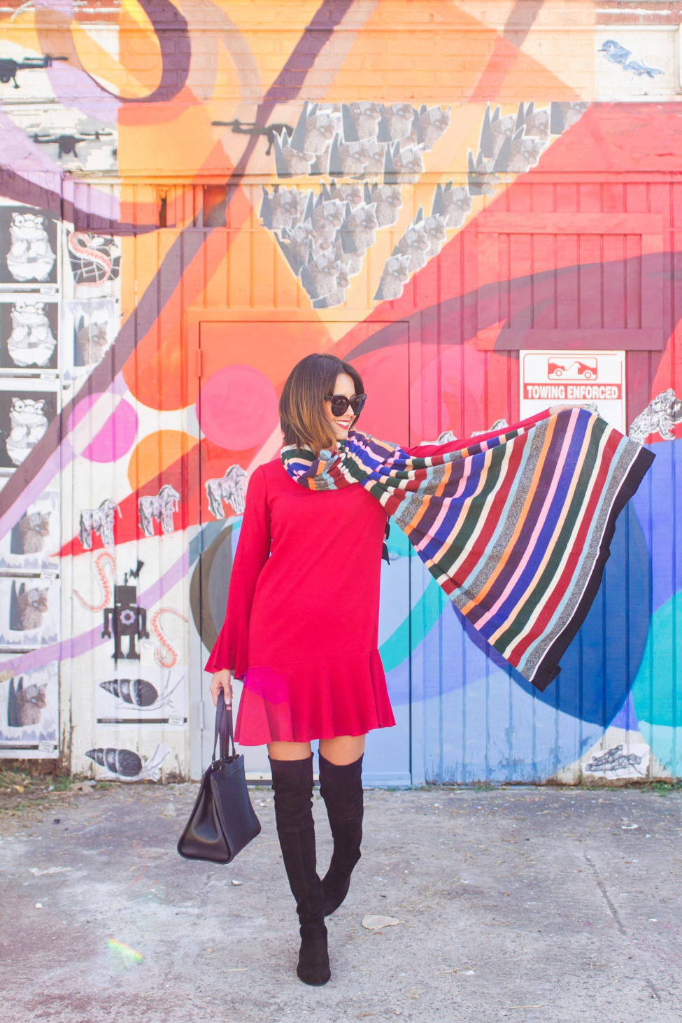 wear-where-well-theory-bell-sleeve-red-dress-colorful-striped-scarf_0010