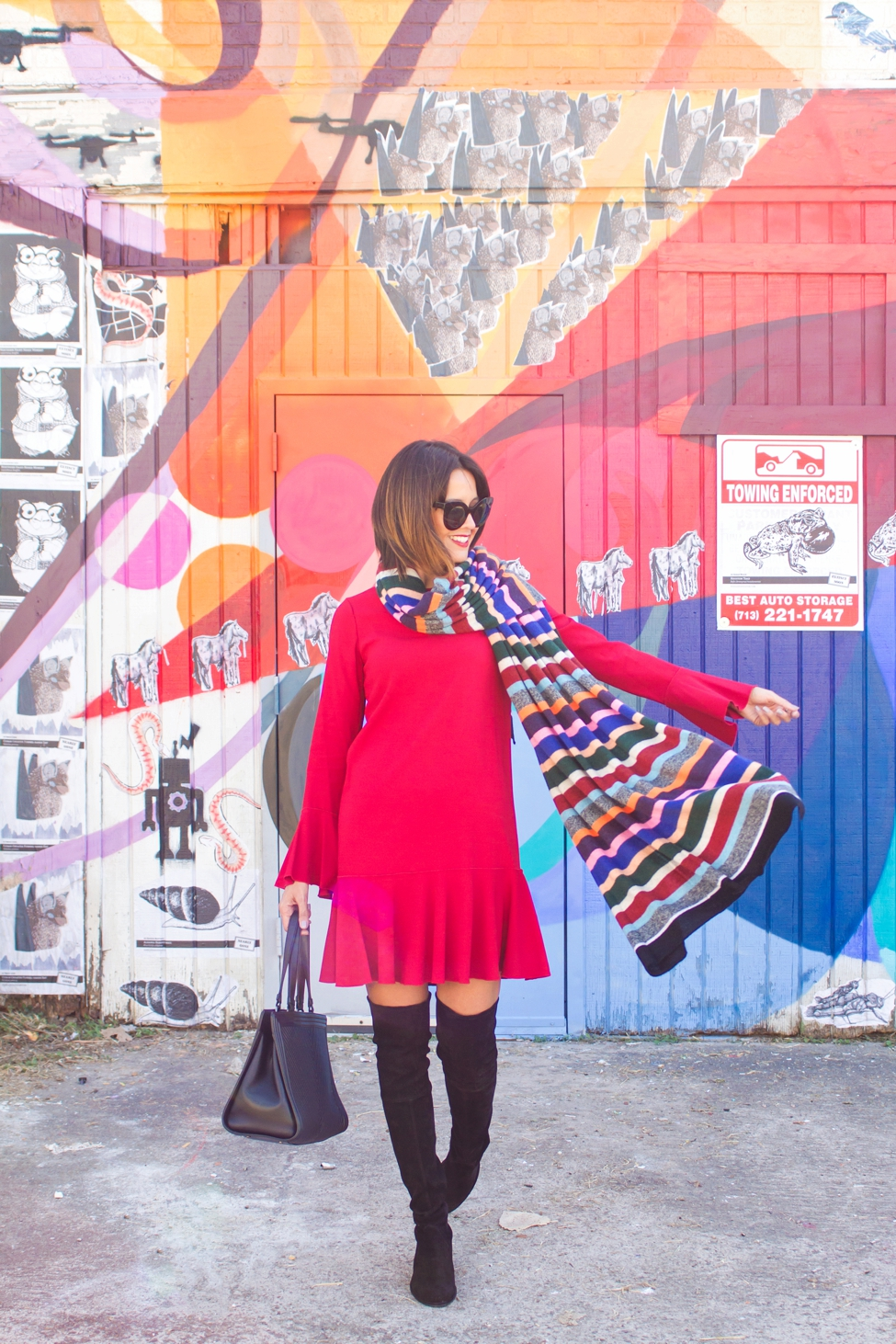 wear-where-well-theory-bell-sleeve-red-dress-colorful-striped-scarf_0011