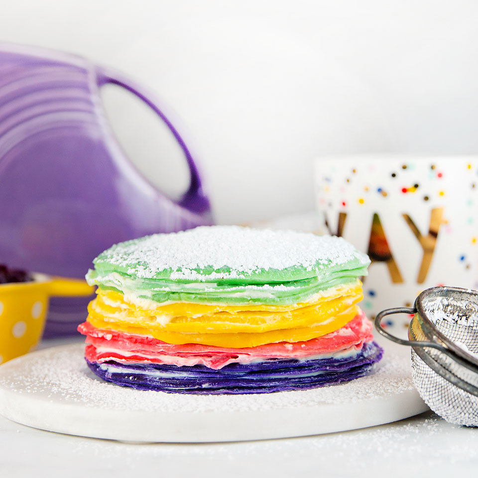 Wear+Where+Well shares a colorful rainbow crepe cake.